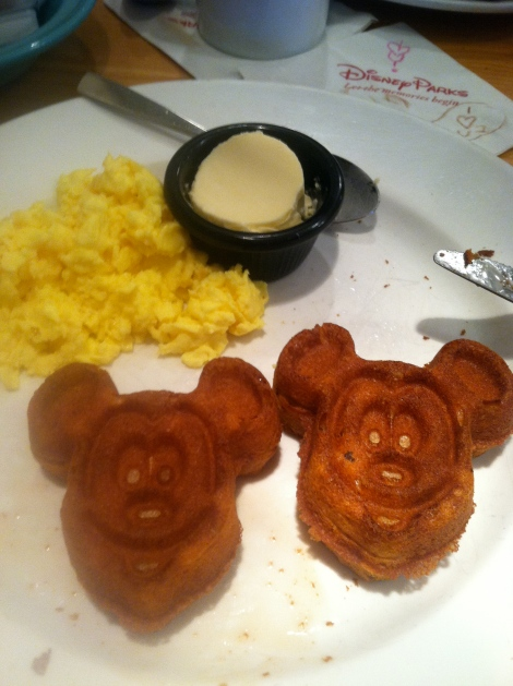 Meals = Gluten free, dairy free eggs & Mickey Waffles!